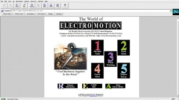Electro Motion's 1st Website on Netscape